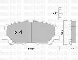 Колодки тормозные дисковые для LEXUS RX(GSU3#,MCU3#,MHU3#) <b>METELLI 22-0618-0</b> - изображение