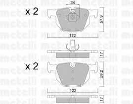 Колодки тормозные дисковые METELLI 22-0644-4 - изображение