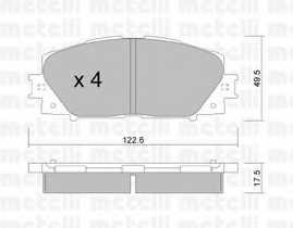 Колодки тормозные дисковые для DAIHATSU CHARADE(L2#) / TOYOTA YARIS(KSP13#, KSP9#, NCP13#, NCP9#, NHP13#, NLP13#, NSP13#, NSP9#, SCP9#, ZSP9#) <b>METELLI 22-0745-0</b> - изображение