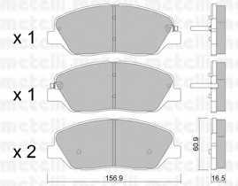 Колодки тормозные дисковые для HYUNDAI SANTA FE(CM,DM,SM) / KIA SORENTO(XM) / SSANGYONG KORANDO <b>METELLI 22-0787-0</b> - изображение