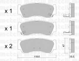 Колодки тормозные дисковые для HYUNDAI SANTA FE(CM,SM) <b>METELLI 22-0788-0</b> - изображение