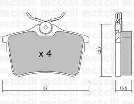 Колодки тормозные дисковые для CITROEN BERLINGO(B9) / PEUGEOT 308, PARTNER <b>METELLI 22-0816-0</b> - изображение