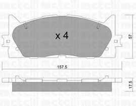 Колодки тормозные дисковые для TOYOTA CAMRY(#XV4#) <b>METELLI 22-0882-0</b> - изображение