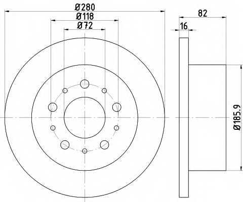 Тормозной диск MINTEX 98200 1574 / MDC1816 - изображение