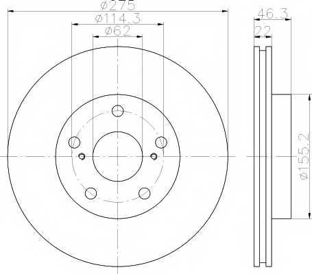 Тормозной диск MINTEX 98200 1638 / MDC2050 - изображение