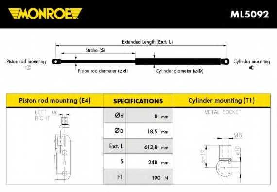 Газовая пружина (амортизатор) крышки багажника MONROE ML5092 - изображение