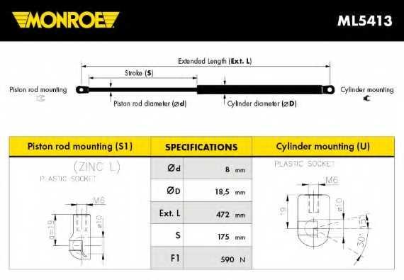 Газовая пружина (амортизатор) крышки багажника MONROE ML5413 - изображение