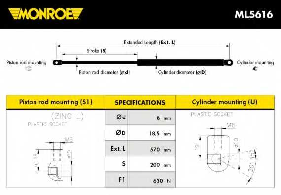 Газовая пружина (амортизатор) крышки багажника MONROE ML5616 - изображение