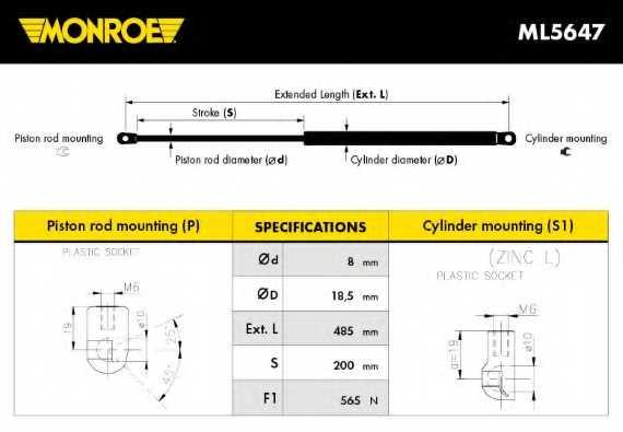 Газовая пружина (амортизатор) крышки багажника MONROE ML5647 - изображение