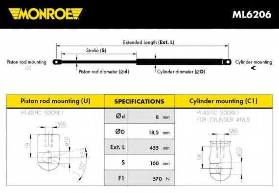 Газовая пружина (амортизатор) крышки багажника MONROE ML6206 - изображение