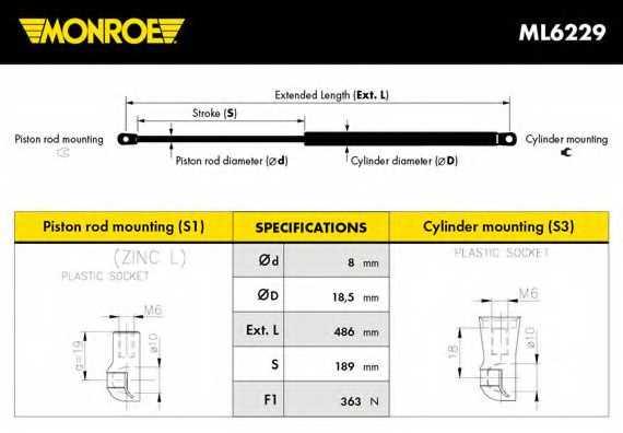 Газовая пружина (амортизатор) крышки багажника MONROE ML6229 - изображение