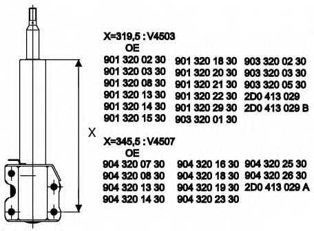 Амортизатор для MERCEDES SPRINTER(901, 902, 903, 904) / VW LT(2, 2DA, 2DB, 2DC, 2DD, 2DE, 2DF, 2DH, 2DK) <b>MONROE V4507</b> - изображение