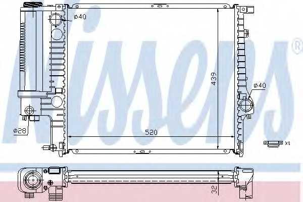Радиатор охлаждения двигателя NISSENS 60743A - изображение
