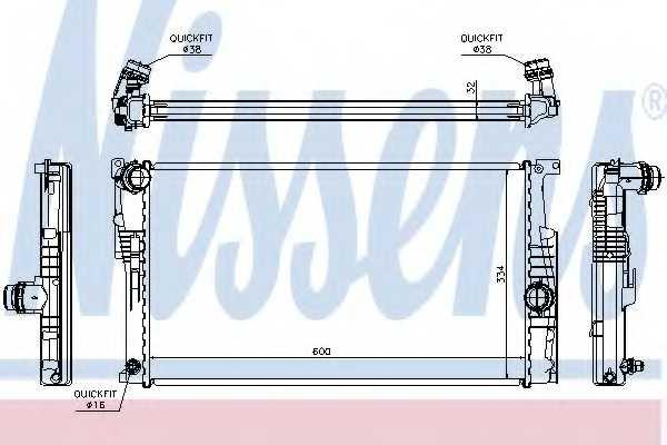 Радиатор охлаждения двигателя NISSENS 60815 - изображение