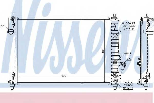Радиатор охлаждения двигателя NISSENS 61687 - изображение