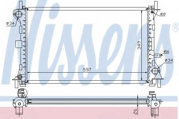 Радиатор охлаждения двигателя NISSENS 62073A - изображение