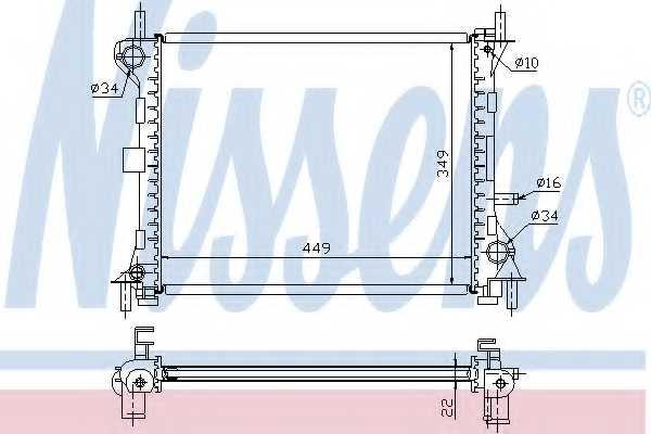 Радиатор охлаждения двигателя NISSENS 62074 - изображение