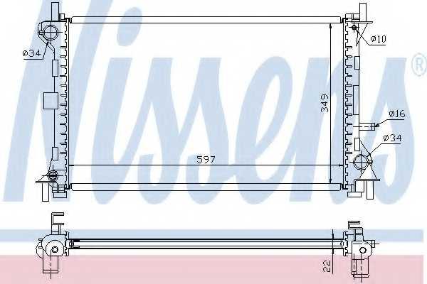 Радиатор охлаждения двигателя NISSENS 62075A - изображение