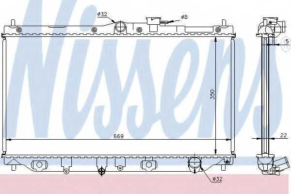 Радиатор охлаждения двигателя NISSENS 62279A - изображение