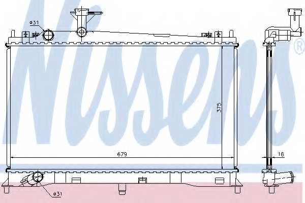 Радиатор охлаждения двигателя NISSENS 62462A - изображение