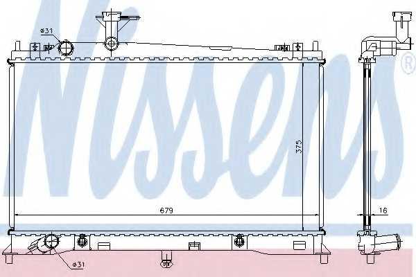 Радиатор охлаждения двигателя NISSENS 62463A - изображение
