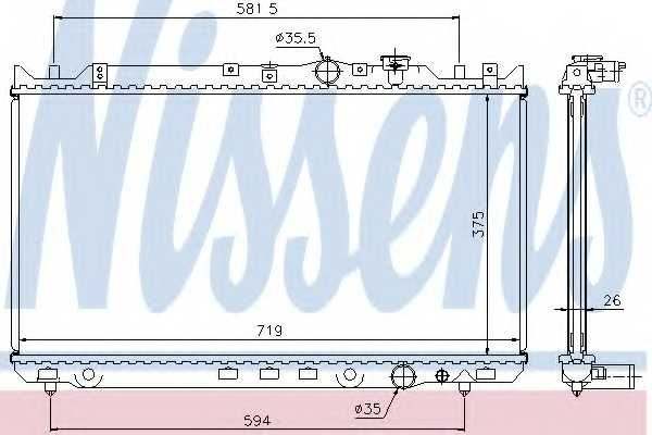 Радиатор охлаждения двигателя NISSENS 62482A - изображение