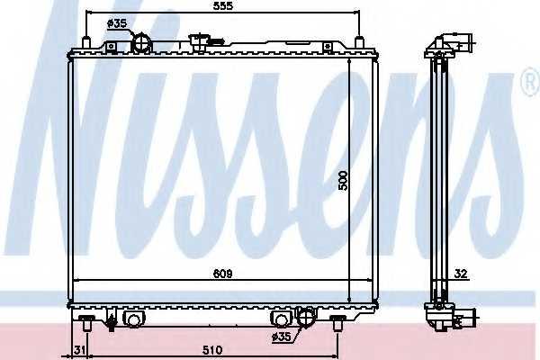 Радиатор охлаждения двигателя NISSENS 62801 - изображение