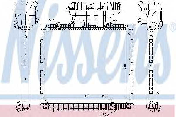 Радиатор охлаждения двигателя NISSENS 62875 - изображение