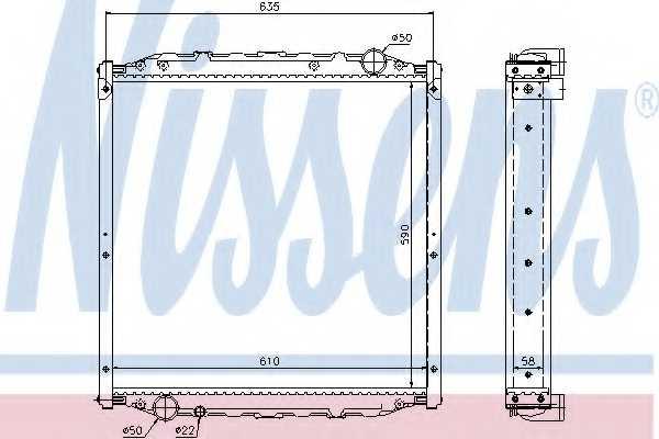 Радиатор охлаждения двигателя NISSENS 62877A - изображение