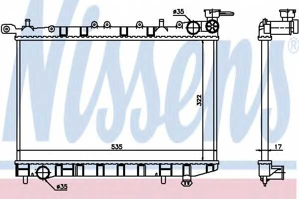 Радиатор охлаждения двигателя NISSENS 62974 - изображение