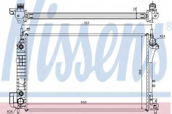 Радиатор охлаждения двигателя NISSENS 63023A - изображение