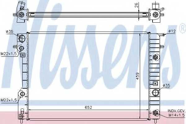 Радиатор охлаждения двигателя NISSENS 63072A - изображение