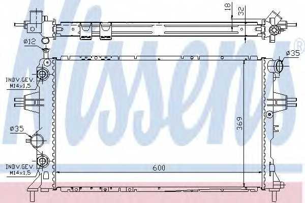 Радиатор охлаждения двигателя NISSENS 63247A - изображение