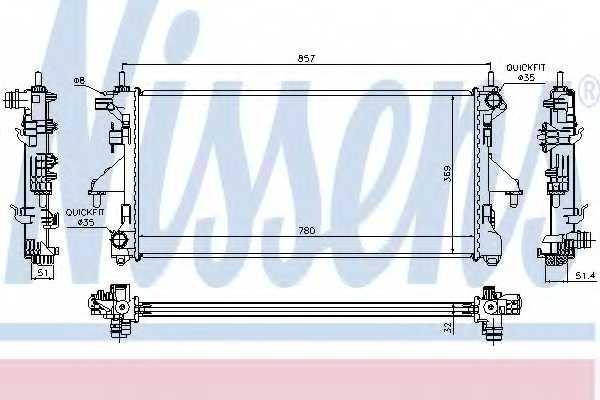 Радиатор охлаждения двигателя NISSENS 63555A - изображение