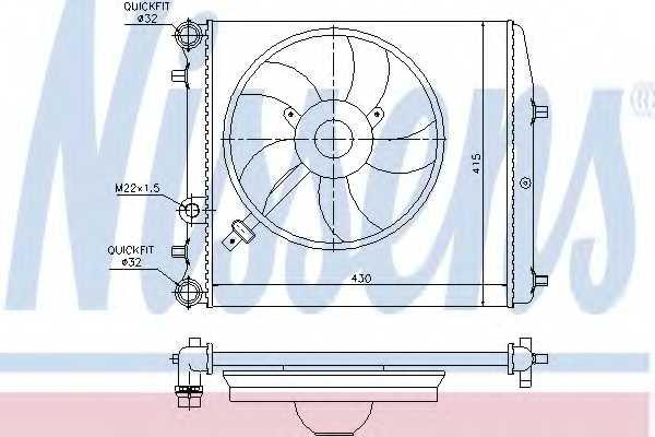 Радиатор охлаждения двигателя NISSENS 64103 - изображение