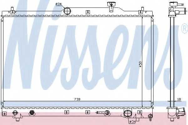 Радиатор охлаждения двигателя NISSENS 64657 - изображение