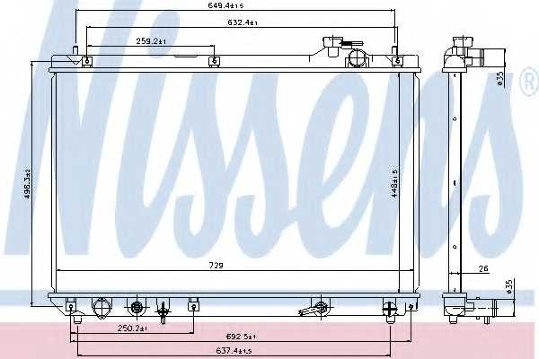 Радиатор охлаждения двигателя NISSENS 64659 - изображение