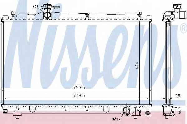 Радиатор охлаждения двигателя NISSENS 64670A - изображение