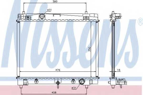 Радиатор охлаждения двигателя NISSENS 64682 - изображение
