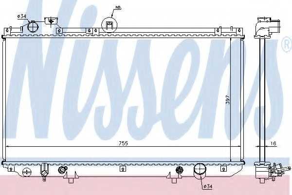 Радиатор охлаждения двигателя NISSENS 64762 - изображение