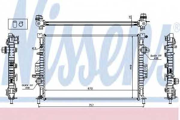 Радиатор охлаждения двигателя NISSENS 65615A - изображение
