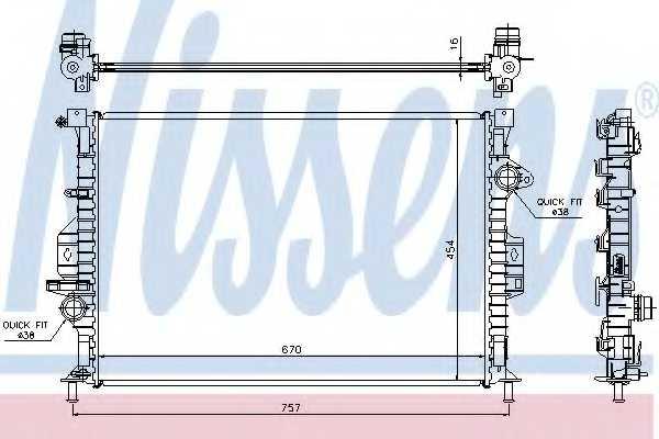 Радиатор охлаждения двигателя NISSENS 66857 - изображение