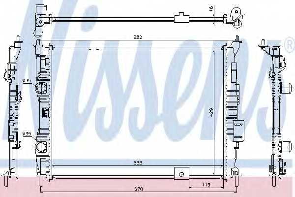 Радиатор охлаждения двигателя NISSENS 67364 - изображение