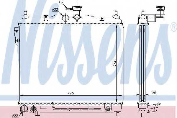 Радиатор охлаждения двигателя NISSENS 67487 - изображение