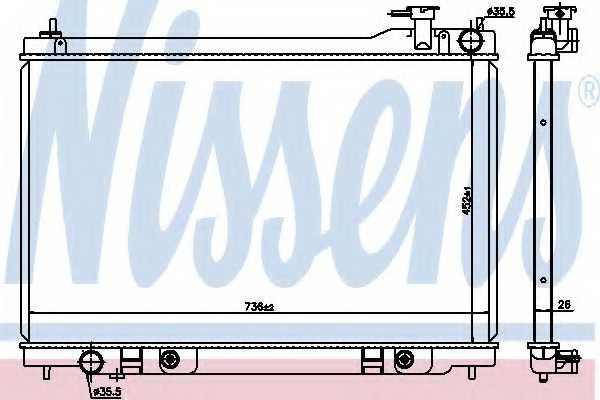 Радиатор охлаждения двигателя NISSENS 68119 - изображение