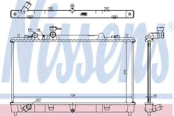 Радиатор охлаждения двигателя NISSENS 68507 - изображение