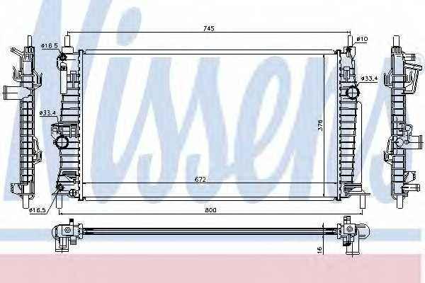 Радиатор охлаждения двигателя NISSENS 68522 - изображение