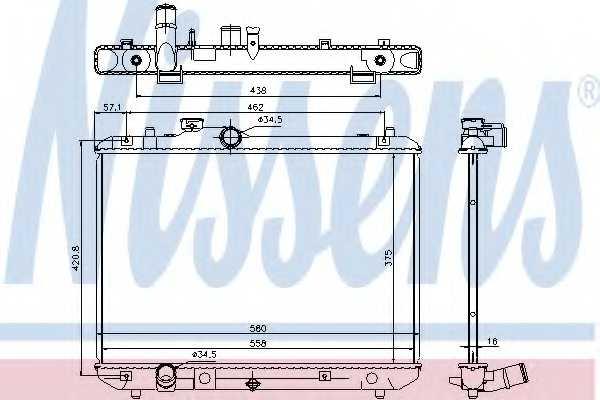 Радиатор охлаждения двигателя NISSENS 69400 - изображение