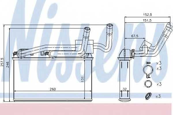 Радиатор отопления салона NISSENS 70529 - изображение