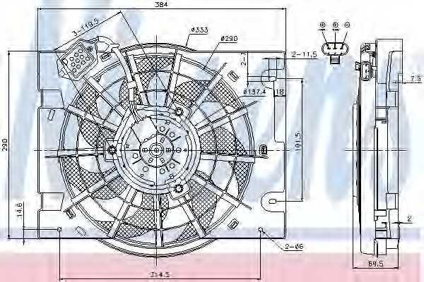 Вентилятор конденсатора кондиционера NISSENS 85186 - изображение